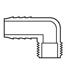 Insert 90 Degree Elbow, PVC  1/2″ Insert x Male IPT
