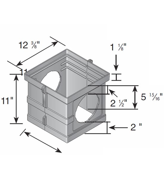 Extension, 12″ Riser (No Bottom) With Two Outlets For 12″ x 12″ Catch Basin or Hub Adapter