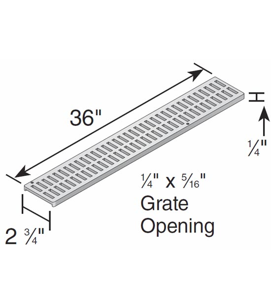 Channel Grate, Decorative (Botanical) 3″ Mini Channel™ , Black (3′ Long) – Fits NDS500 and NDS550