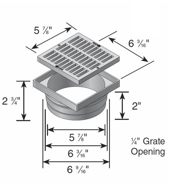 Square Grate & Adapter, 6″ x 6″ x 6″ Green – Fits Spee-D® Basin and 6″ Sewer & Drain Pipe & Fittings