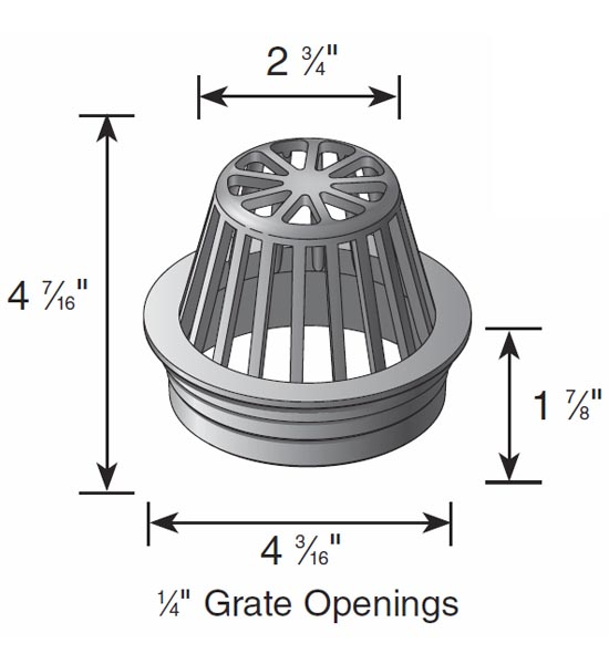 Atrium Grate, 4″ Gray – Fits 4″ Sewer & Drain Pipe & Fittings,  4″ Corrugated Pipe and 4″ Triple Wall Pipe