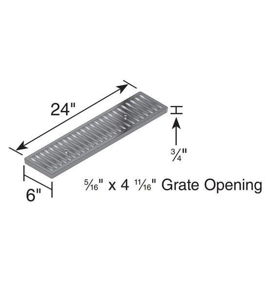 Channel Grate, Dura Slope™, Cast Iron (2 ' long)
