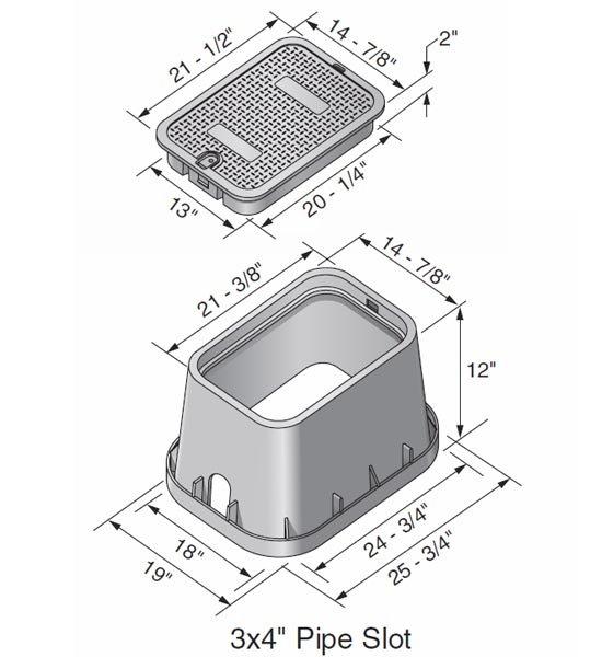 Valve Box, Jumbo Rectangular (18″ x 24″) – Plastic With Green Cover